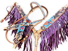 PURPLE WESTERN LEATHER FEATHER FRINGE BRIDLE HEADSTALL BREAST COLLAR HORSE TACK