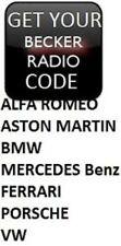 UNLOCK YOUR BECKER RADIO STEREO CODE BMW ASTON MARTIN MERCEDES BENZ FERRARI VW