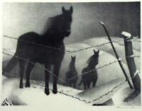 February [horses] : Grant Wood : Circa 1940  Archival Quality Art Print