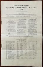 More details for university of london uk vintage teacher's certificate examination pass list 1947