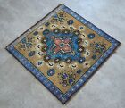 """Vintage Distressed Small Area Rug Hand Knotted Oushak Rugs Yastik -1'11""""x1'11'"""