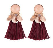 NEW GOLD PLUM  RHINESTONE TASSEL PARTY TASSLE FRINGE  EARRINGS BOHO GIFT NT45