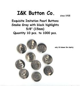 Lot of 8 Large Shiny Pearlized Silver Grey Faux MOP Faux Mother of Pearl Plastic Sew-through 2-hole Coat Buttons 1 18 28mm # 6230
