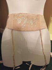 NWT $98 Victoria's Secret DESIGNER COLLECTION Satin Nude GARTER Belt M/L Bling
