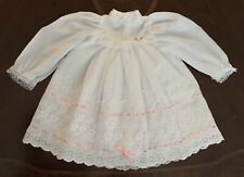 Vtg Handmade Baby Girl Dress White Lace Floral Eyelets Pink Ribbon Long Sleeve