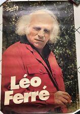 AFFICHE Léo Ferré 80x120 cm VINTAGE - Envoi en tube carton / Parfait état