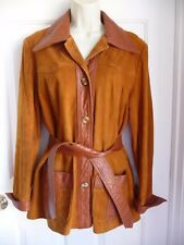 New England Sportswear Company Jacket 10 M Brown Suede Leather ICONIC Hippie
