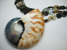"Genuine Nautilus Shell Oval Shape Black Lip Shell Necklace 18"" Long # 30249-1"