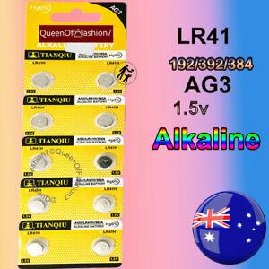 10 x LR41 Battery QueenOf7 1.5V Alkaline AG3 Blister Button Cell Batteries