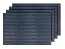4er Set Platz-Matten TS-88 grau blau Tisch-Sets Platzset Tischmatten Untersetzer