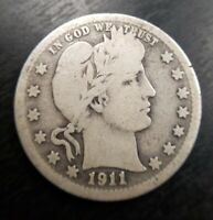 1911 S Silver Barber Quarter,  Nice *Low Mintage* Very Good VG or Fine F