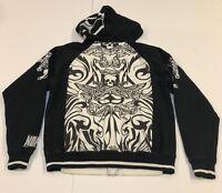 Vtg No Fear Skater Skull Hoodie Sweatshirt Black White Mens Small