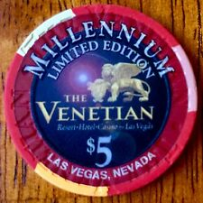 $5 Venetian Casino Chip - Millennium 2000 - Las Vegas - Poker, Blackjack - RARE