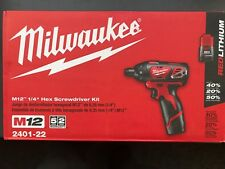 "Milwaukee 2401-22 M12 Cordless 1/4""  Hex Screwdriver Kit w/2 REDLITHIUM batts"