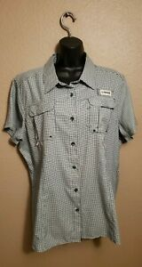 Magellan Outdoors Fish Gear Women's Green/White Check Button Up Shirt, XL