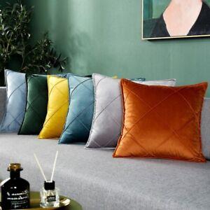 Plaid Velvet Cushion Cover Sofa Throw Pillow Covers Solid Pillowcase Home 3 Size