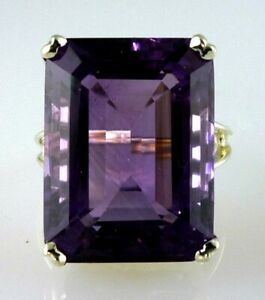 Genuine Very Large Emerald Cut Amethyst Fine Color Ring , 10k White Gold