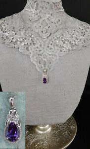 """Moroccan Amethyst & White Topaz NECKLACE Platinum/Silver TCW 2.12 cts. 20"""" Chain"""