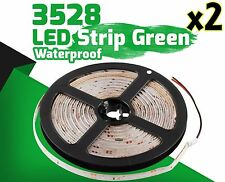 2X Green 5M Waterproof 300 LED 3528 SMD Flexible LED Light Lamp Strip DC 12V Car