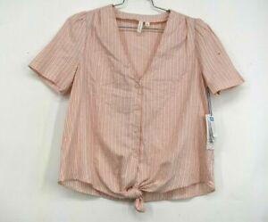 Treasure & Bond Womens Ivory Pink Short Sleeve Tie Front Shirt V Neck