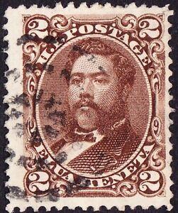 Hawaii - 1875 - 2 Cents Brown King David Kalakaua # 35 F-VF w Fancy Cancel Nice