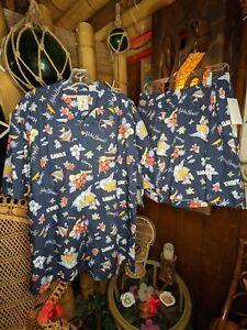 Retro Mens Matching Hawaiian Shirt & Trunks Swimsuit Cabana Large Set 2 pc Aloha