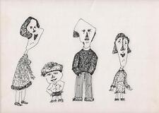 SURREALIST FAMILY PORTRAIT Pen & Ink Drawing ARTHUR MITSON c1985 SURREALISM