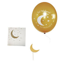 Ramadan and Eid Gold Crescent Moon Party Packs (Napkins, Toppers, and Balloons)