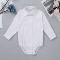 Baby Boy Toddler White Smart Shirt Formal Long Sleeve Bodysuit Body Shirt 3-24M