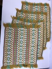 Vintage Woven Set of 4 Placemats with fringe 12x14 Gold Green Cream Red