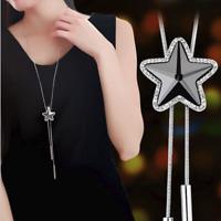 Damen Halskette Schmuck Geschenke Silberkette lang 75cm Stern für Frauen Kette