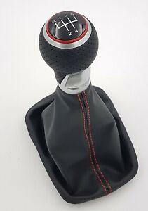 SCHALTKNAUF + SCHALTSACK  passend für SEAT Ibiza III Typ 6L /Naht Rot /5Gang/R1