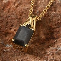 Silver Sapphire, Smoky Quartz 14K YG Over Sterling Pendant Stainless Steel Chain