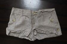 Forever 21 Beige & Ivory Striped Linen Blend Shortie Shorts Size L Juniors