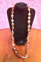 Vintage 1970s Faux Amber Beaded Necklace / Large Amber Colored Resin Necklace-2