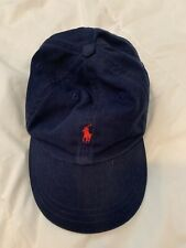 VTG POLO RALPH LAUREN Kids Boys Dad Slouch 6 Panel Hat Blue Size 4-7 Adjustable