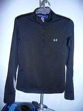 Womens Under Armour 1/4 Zip long sleeve  shirt size M Black (Runs Small)
