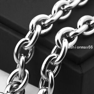 Mens 11/13/15mm Heavy Cool Rolo Oval Chain Stainless Steel Necklace or Bracelet