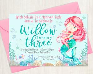 Custom Printable Girl Birthday Invitation Any Age Mermaid Splish Splash Wreath