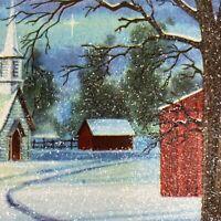 Vintage Mid Century Christmas Greeting Card Sparkly Glitter Snow Scene Trees