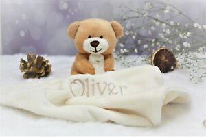 PERSONALISED BABY TEDDY BEAR COMFORTER NAME SOFT FLEECE BLANKET BABY GIFT