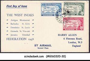 BARBADOS - 1958 THE WEST INDIES FEDERATION QEII 3V FDC