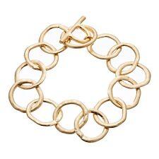 Matt Gold Plated T Bar Bracelet With Linked Connecting Circles - Jalen G