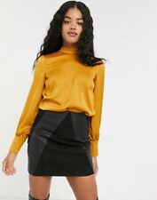Ex OASIS Satin Blouse with High Neck in Mustard RRP £36 Sizes 6 - 16