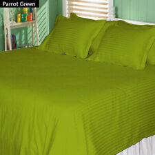 1200TC EGY. COTTON 8,10,12,15 INCH DEEP POCKET PARROT GREEN STRIPED BEDDING ITEM