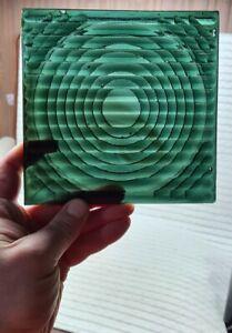 1pcs Antique Vintage old Glass Panel 15x15cm Tile Prisms Green colour 1900s