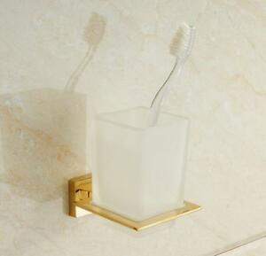 Bathroom SUS Toothbrush Holder Glass Single Cup Storage Wall Mount Shelf Square