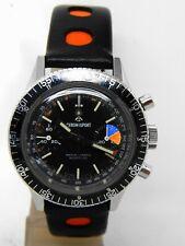 "Watch Chronograph "" Chronosport "" Movement 7733 Box Steel Diver Stopwatch"
