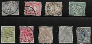 Netherlands Scott #55-56, 59-60, 62 & 65-68, Singles 1898-1924 FVF Used