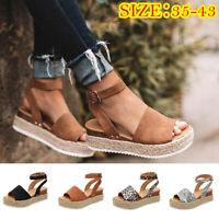 Womens Fashion Ankle Strap Flatform Espadrilles Summer Platform Wedges Shoes H/H